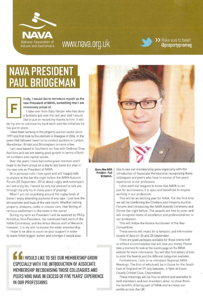 Paul Bridgeman FNAVA, President of NAVA. Dedman Gray Essex Land and Property Auctioneers